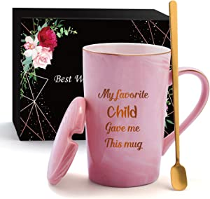 Best Gifts for Mom Coffee Mug with Lid Funny Birthday Gifts for Mom from Daughter Son Kids Mother's Day Christmas Presents for Her Mother Grandma Appreciation Gifts for Women Pink Ceramic Tea Cup 14oz