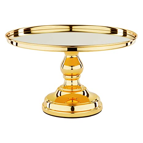 Amalfi Decor 12 Inch Cake Stand With Mirror Polished Metal Dessert Cupcake Pastry Candy Cookie Display Pedestal For Wedding Event Birthday Party