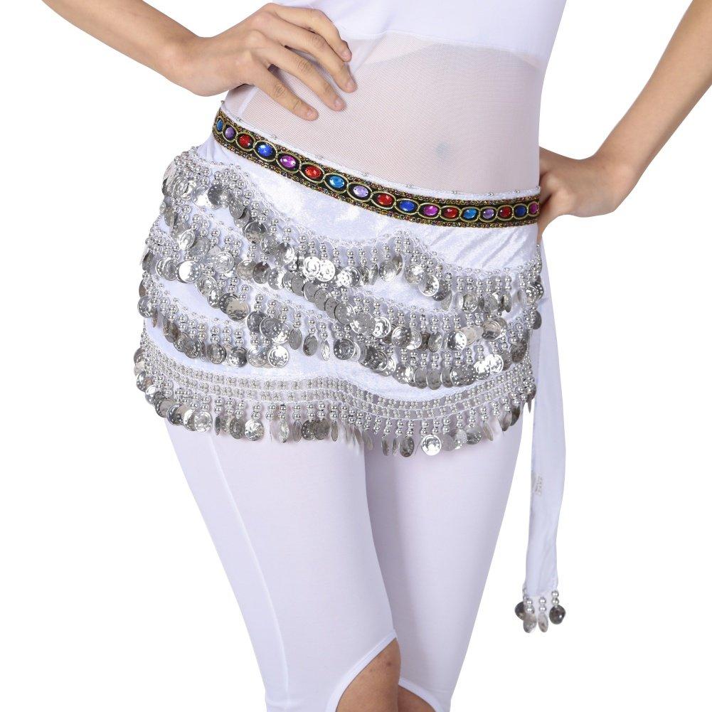 hougood 310de la Lady disfraz de monedas de danza del vientre cintura cadena nacional de danza hip bufanda falda cinturón color Diamond gasa faldas, mujer, Black+Gold Coin