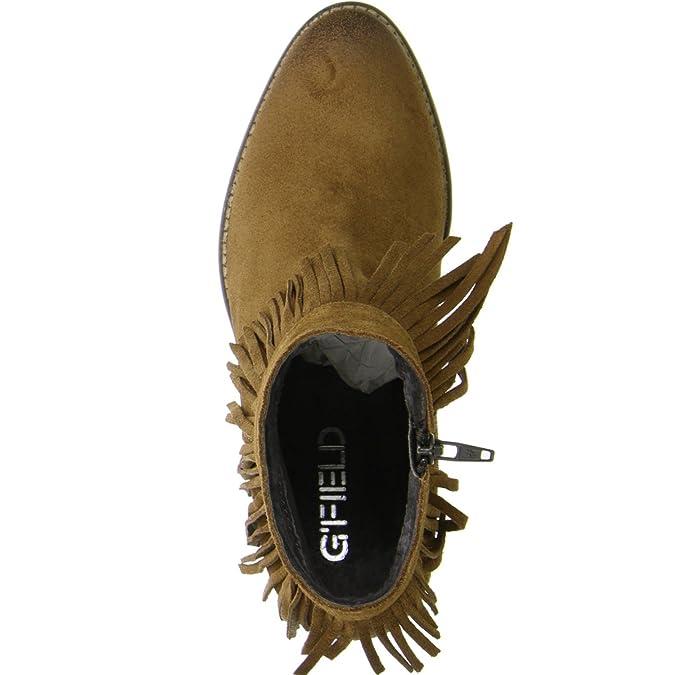 G'FIELD Damen Ankle Boots Fransen Ethno Look braun