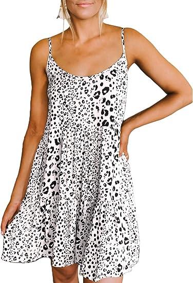 Ailunsnika Womens Summer Sundresses Short Ruffled Skater Spaghetti Strap Casual Mini Dress