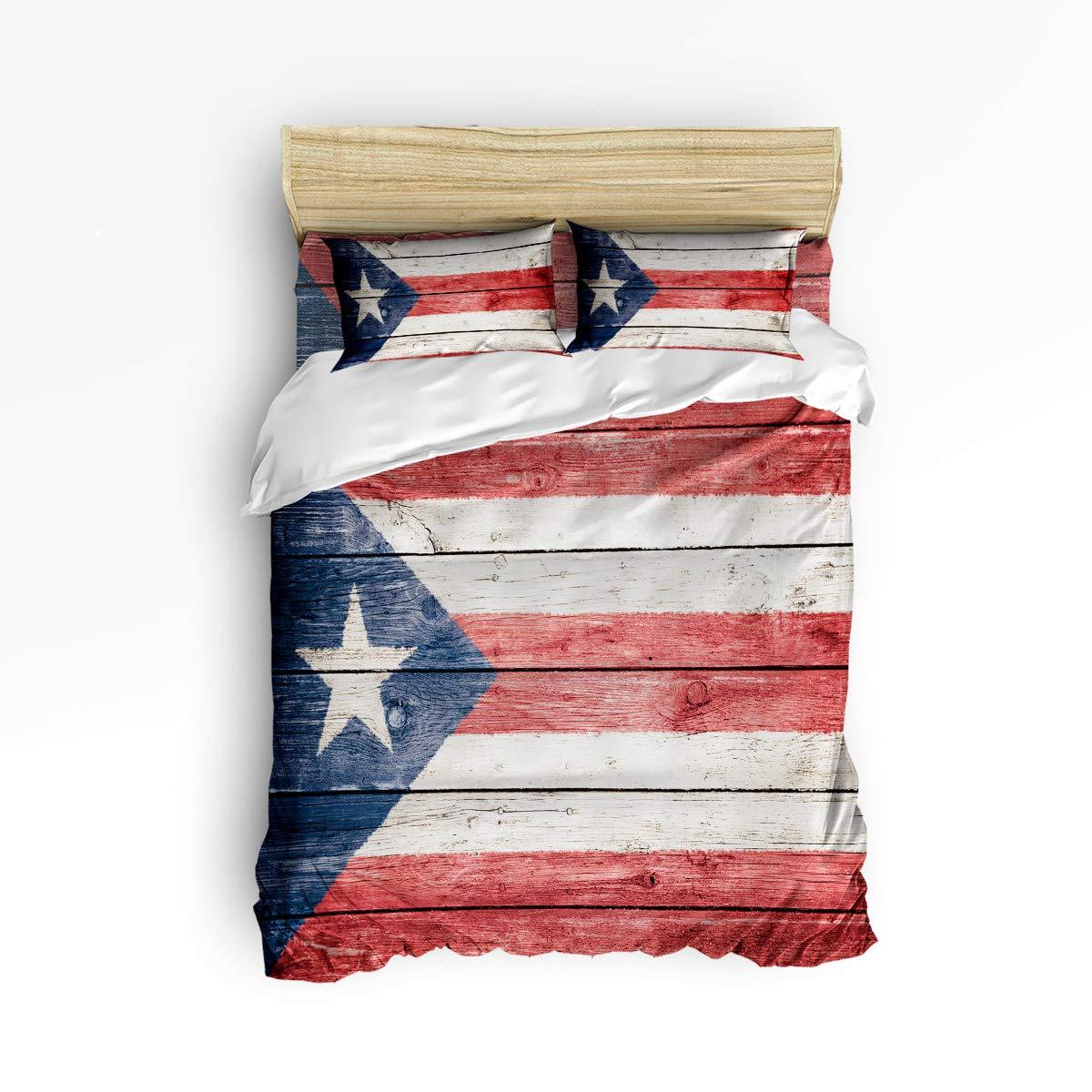 YEHO アートギャラリー布団カバーセット ソフトベッドシーツセット 子供用 プエルトリコアメリカ国旗寝具セット ホームデコレーション 4ピース フラットシーツ1枚 掛け布団カバー1枚 枕カバー2枚 クイーン 20181214YAGWHLSJTSSSLEX00836SJTCYAG B07LCRLBNH Flag10xyag8135 クイーン