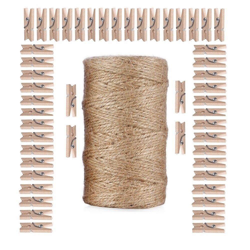travaux manuels de bricolage universelles Arts Crafts Ficelle industriel Heavy Duty Corde demballage pour cadeaux Giveet 100 metres Ficelle de jute naturel et 100 pcs Mini Pinces /à linge