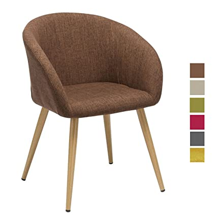Sedia da sala da pranzo in tessuto (lino) Marrone design retro con ...