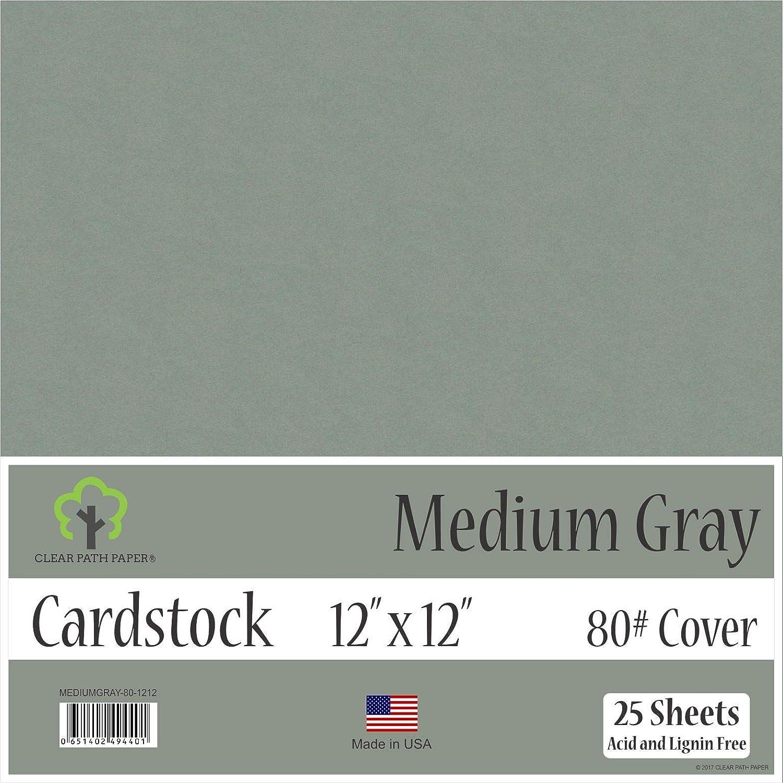 ミディアムグレーカードストック - 12 x 12インチ - 80ポンドカバー - 25枚 12 x 12 Inch - 25 Sheets グレイ MEDIUMGRAY-80-1212 B07JDQ1PDJ  12 x 12 Inch - 25 Sheets