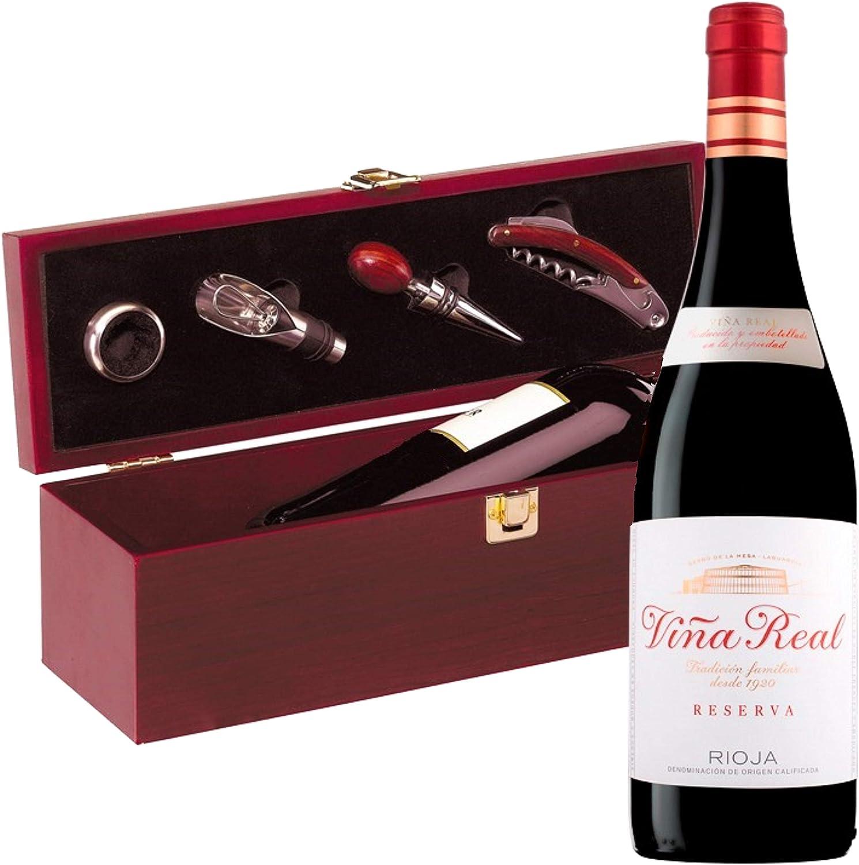 Estuche Regalo Vino + Botella Reserva Viña Real D.Origen Rioja añada del 2014 + Set Caja de Madera Incluye Recoge Gotas Dosificador Tapón Sacacorcho y Enfriador -Pack Ideal para regalar.