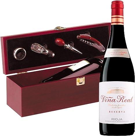Estuche Regalo Vino + Botella Reserva Viña Real D.Origen Rioja añada del 2014 + Set Caja de Madera Incluye Recoge Gotas Dosificador Tapón Sacacorcho y Enfriador -Pack Ideal para regalar.: Amazon.es: Alimentación