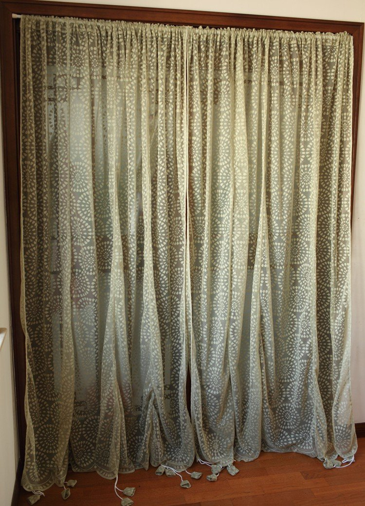 Rustic Lace Curtains Adjustable Balloon Sheer Curtains