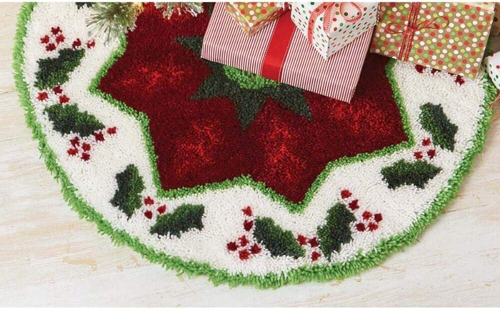 Herrschners Holly Wreath Tree Skirt Latch Hook Kit