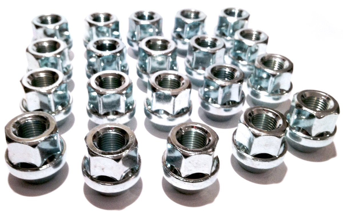 M12 x 1.25 Alloy wheel nuts open head Zinc plated M12x1.25 Set of 20 wheel nuts 19mm hex Taper seat