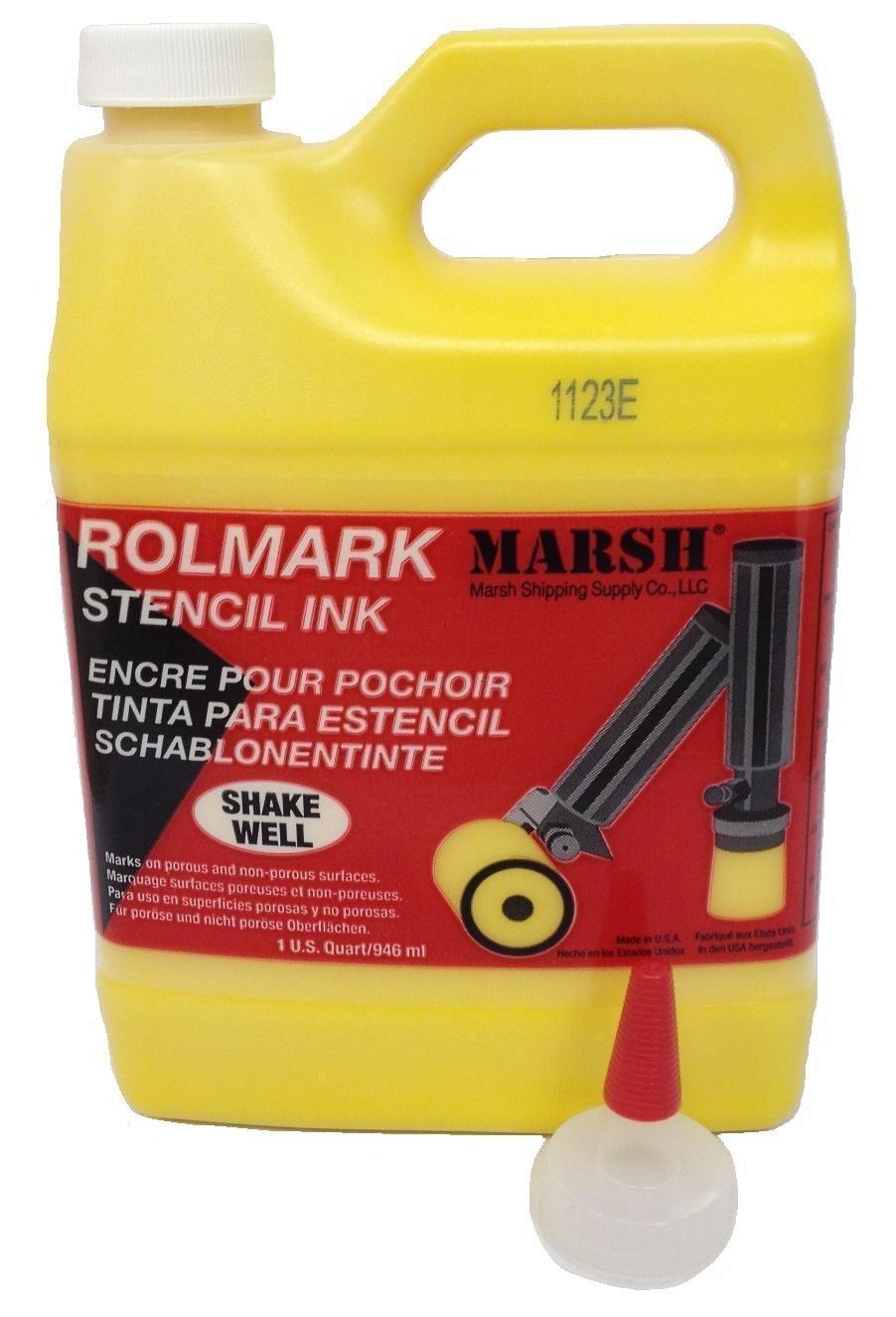 MARSH Rolmark Stencil Ink, 1 qt Can, Yellow by Marsh