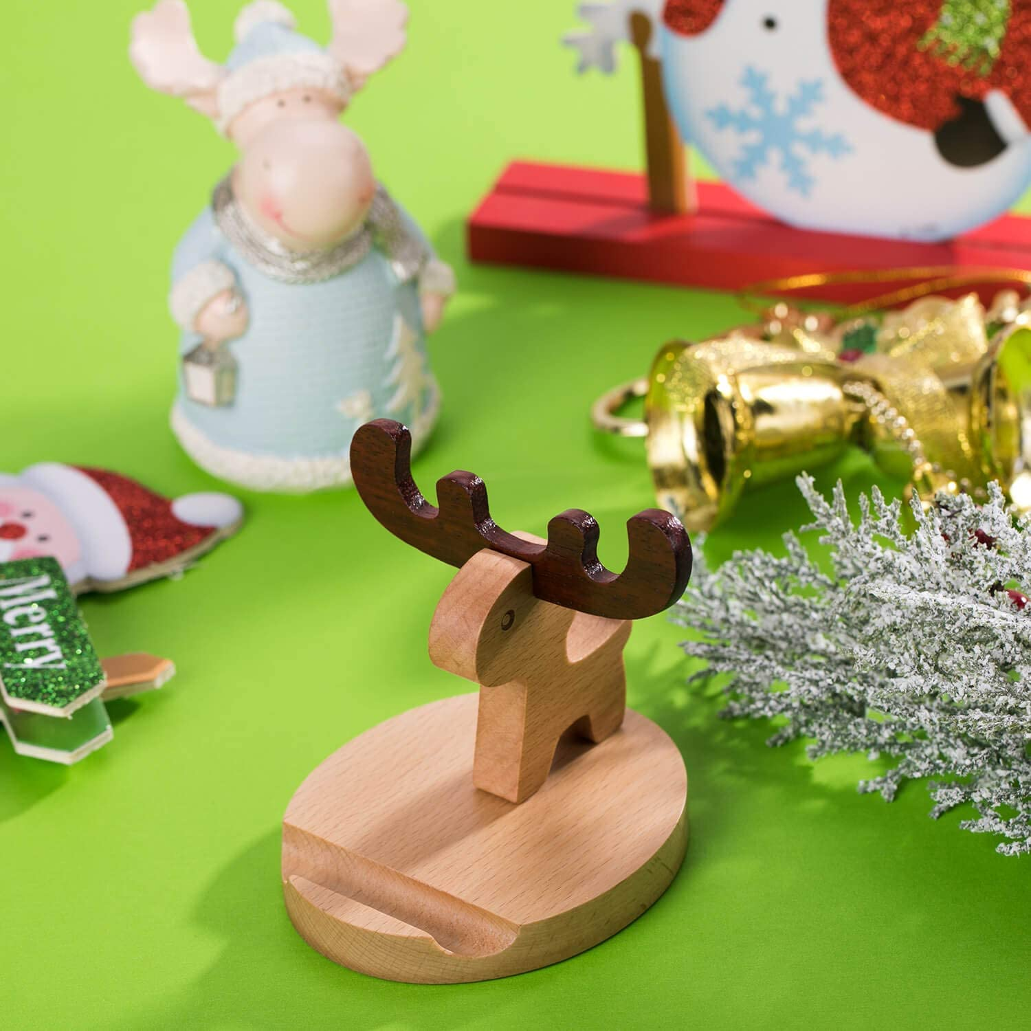 Deer Animal Phone Stand Phone Holder for Desk and Bed, Wood Cell Phone Stand Compatible with iPhone 11 Pro X Plus 8 7 6