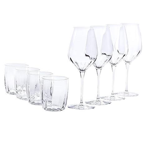 Bormioli Set Da Vino Incontri In Vetro 8 Pezzi 4 Bicchieri Da