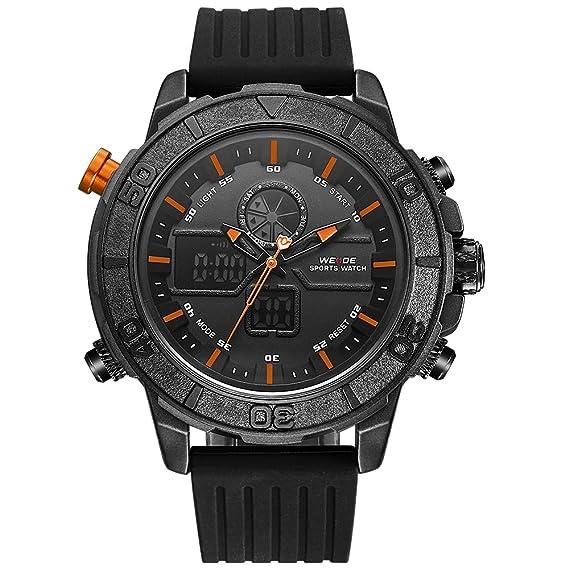 WEIDE hombres del deporte militar analógico digital de goma reloj con mecanismo de cuarzo Dual tiempo