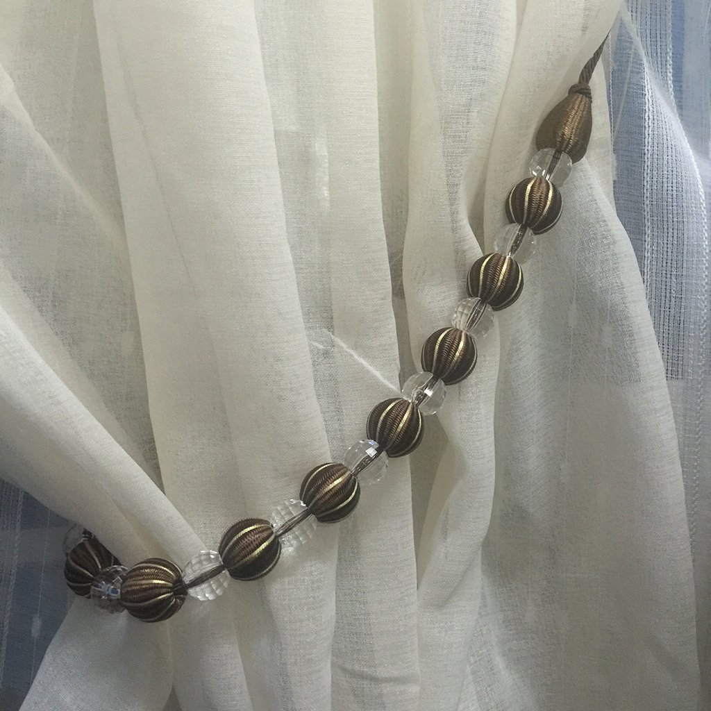 Chocolate Homyl 1 Pair Crystal Window Curtain Tieback Valance Voile Sheer Holdback Clips Fits Most Type Curtain