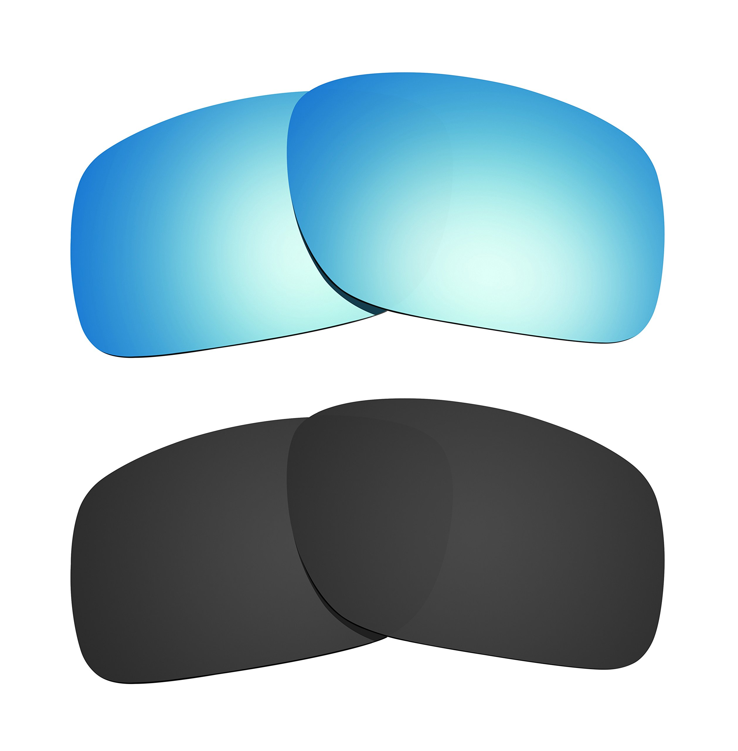 Littlebird4 2 Pairs Polarized Replacement Lenses for Oakley Turbine Sunglasses - Multiple Options (Black-Ice Blue) by Littlebird4 (Image #1)