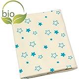 ByBoom® - BIO Copertina per il bebè, copertina nella quale coccolarsi, copertina per il neonato, copertina estiva, 70X100 cm, in COTONE BIOLOGICO al 100%, Colore:Bianco - Giraffa Aqua
