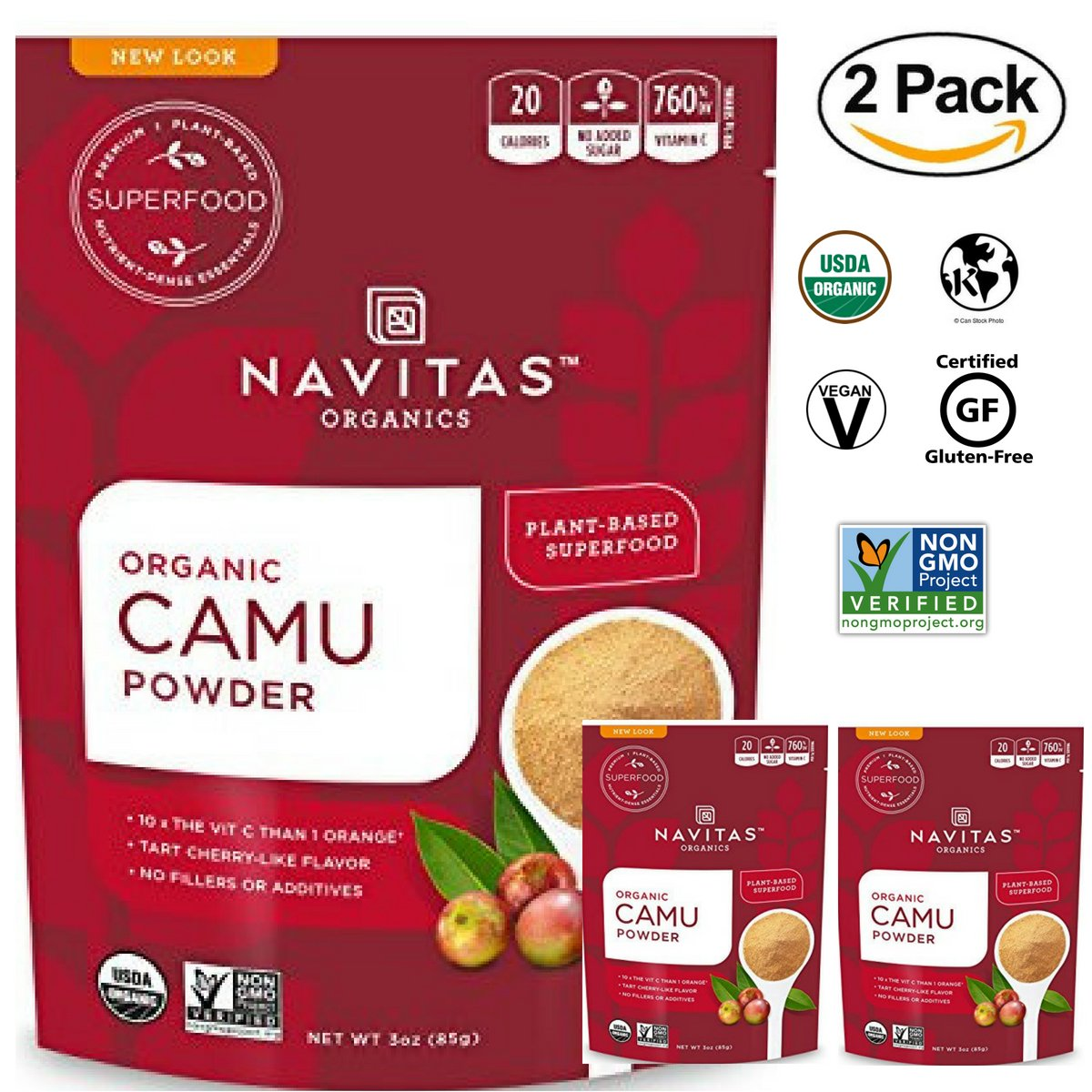 Navitas Organics Raw Camu Camu Powder, 3 oz. Bags (Pack of 2) - Superfood, USDA Organic, Non-GMO, Gluten-Free,Vegan, kosher