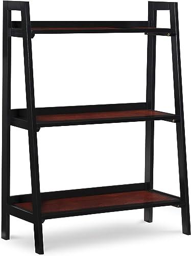 Linon Black Cherry Wood Three Shelf Camden Bookcase