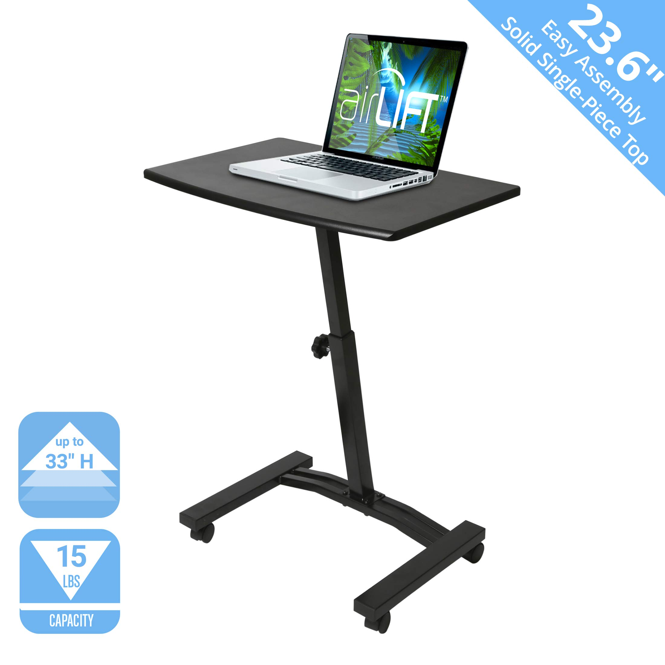 Seville Classics OFF65854 Mobile Height Adjustable Solid-Top Laptop Desk Cart, 23.6'' W x 16'' D x (20.5'' to 33'' H), Black, by Seville Classics