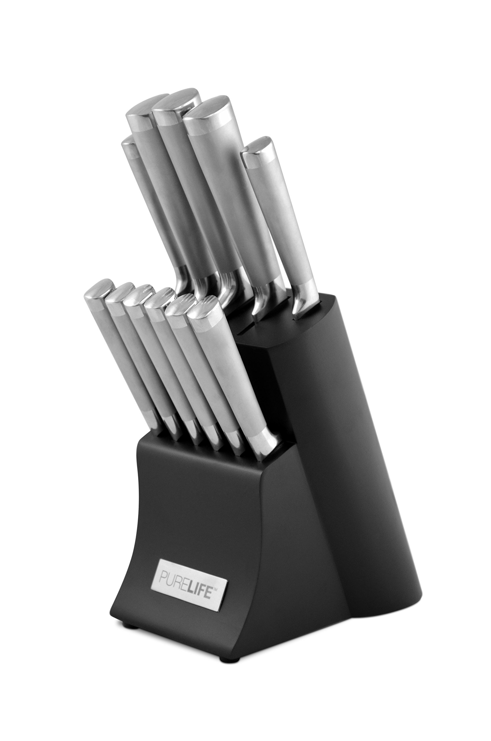 PureLife Ragalta PLKS 2200 Series 12-Piece Forged High Carbon Stainless Steel Cutlery Set with Block, Black by purelife (Image #1)
