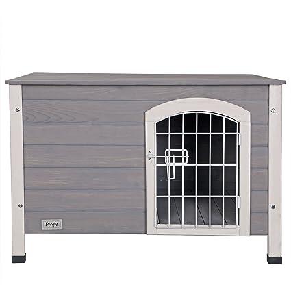 Petsfit casa de perro de interior con puerta de hierro, refugio de madera para perros, color gris, 80 cm x 54 cm x 53 cm: Amazon.es: Productos para mascotas