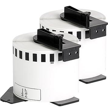 2x compatible Etiquetas continuas DK22205 blanco para Brother impresora de etiqueta QL1050 / QL1060 / QL500, QL550, QL560, QL570, QL580, QL650, QL700, ...