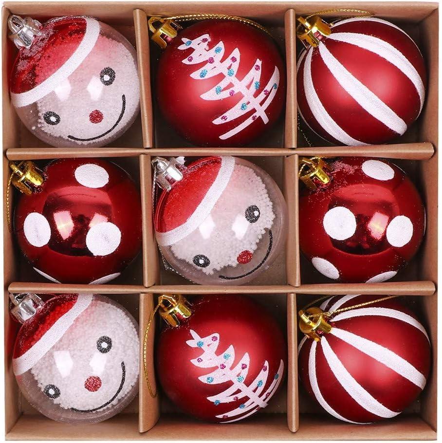 Valery Madelyn Weihnachtskugeln 9 St/ücke 6CM Plastik Christbaumkugeln Weihnachtsdeko mit Aufh/änger Weihnachtsbaumschmuck Weihnachtsdekoration Traditionelles Thema Rot Wei/ß