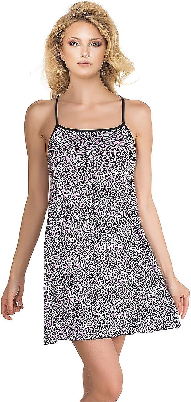 miorre Camicia da Notte da Donna con Stampa Leopardata