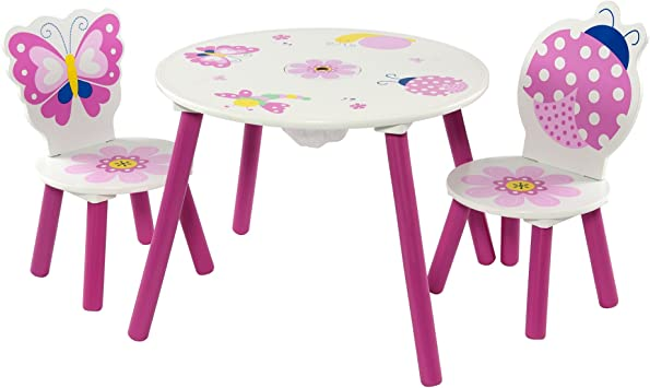 MOMO Butterfly - Juego de Mesa y 2 sillas Infantiles, diseño de Mariposas y Mariquitas: Amazon.es: Juguetes y juegos