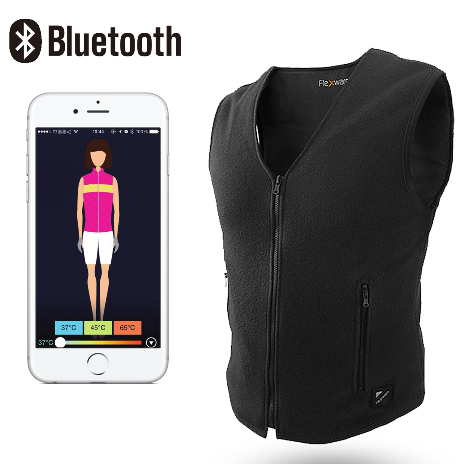 Beautprincess Women's Therapy Insulated Heated Down Vest Electric Heating Clothes Far Infrared with Smartphone Bluetooth App Control Large