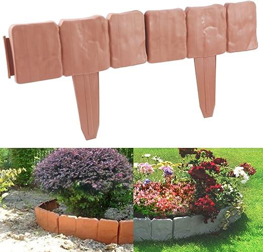Anladia 20pcs 5.2 Metros Plástico Valla para jardín Bordura de plástica Diseño de Piedra Color (Terracotta): Amazon.es: Jardín