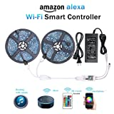 Amazon Price History for:WenTop Wifi Wireless Smart Phone Controlled Led Strip Light Kit with DC12V UL Listed Power Supply Waterproof SMD 5050 32.8Ft(10M) 300leds RGB Music LED Light Strip Work with Android, IOS and Alexa