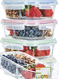 Glass Meal Prep Containers 3 Compartment SUPER BUNDLE (5-Pack WITH SAUCE CUPS & LABELS) Meal Prep Glass Containers/Bento Box Containers. Microwave AND OVEN SAFE. Bento Box Lunch Glass Container.