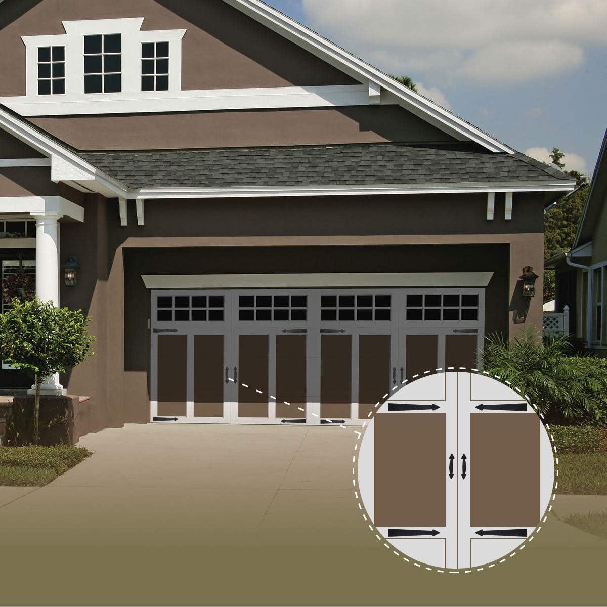 CrazyAnt Garage Door Decorative Hardware Non-Fade Magnetic Faux Hinges Handles Carriage-Style Decorative Garage Door Accents Easy Installation for Metal Garage Door