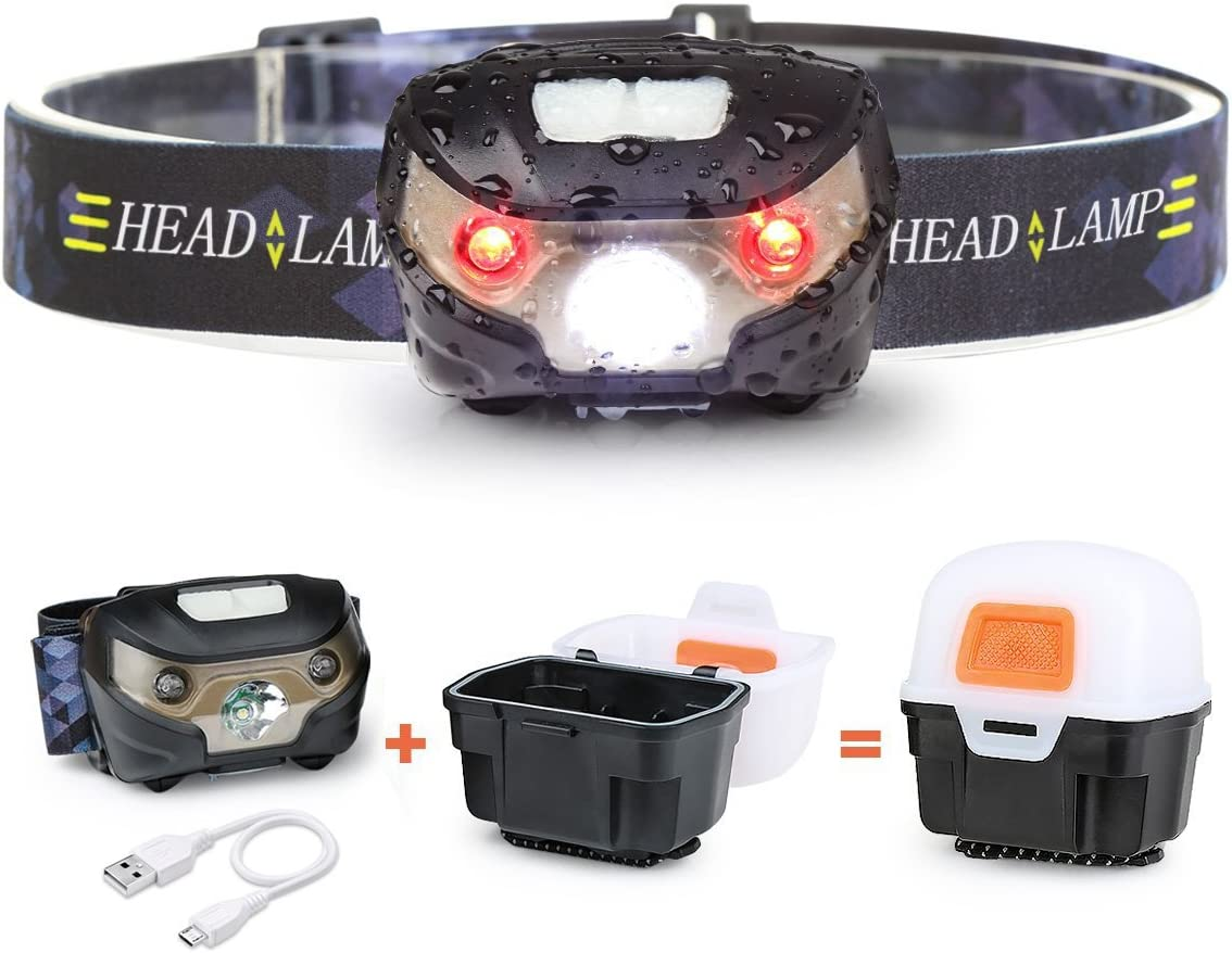 LED Headlamp with Protection Box,USB Rechargable Head Torch,Waterproof IPX4 Lightweight Comfortable,Camping Head-torch LED Tent Lamp for Fishing Running Sport Hiking Walking Camping Light
