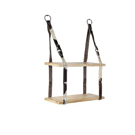 QAZQA Perchero industrial con 2 estantes de madera y correas ...
