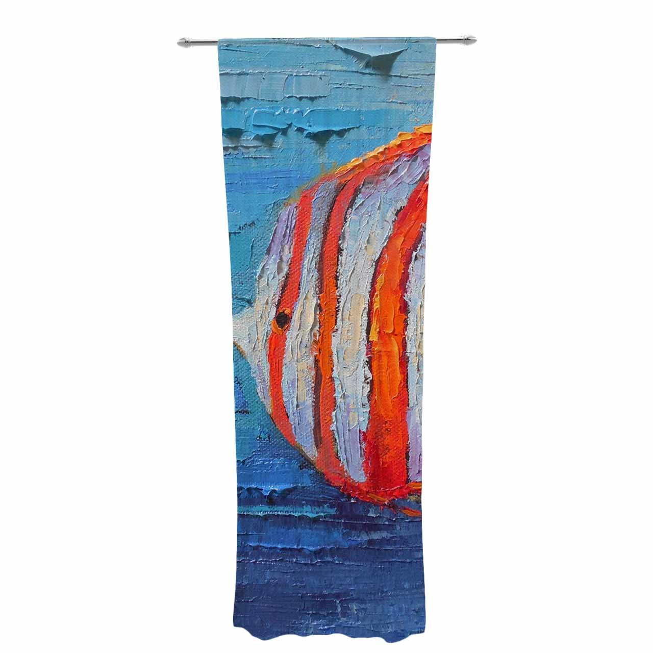 Kess InHouse Carol Schiff Coral Reef Fish 1' Blue Orange Painting Decorative Set, 30' x 84' Sheer Curtains