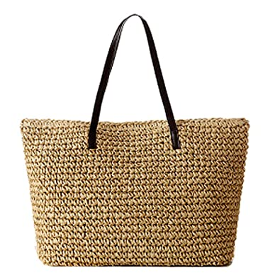 GSPStyle Women Straw Shoulder Beach Bag Colour Beige: Amazon.co.uk ...