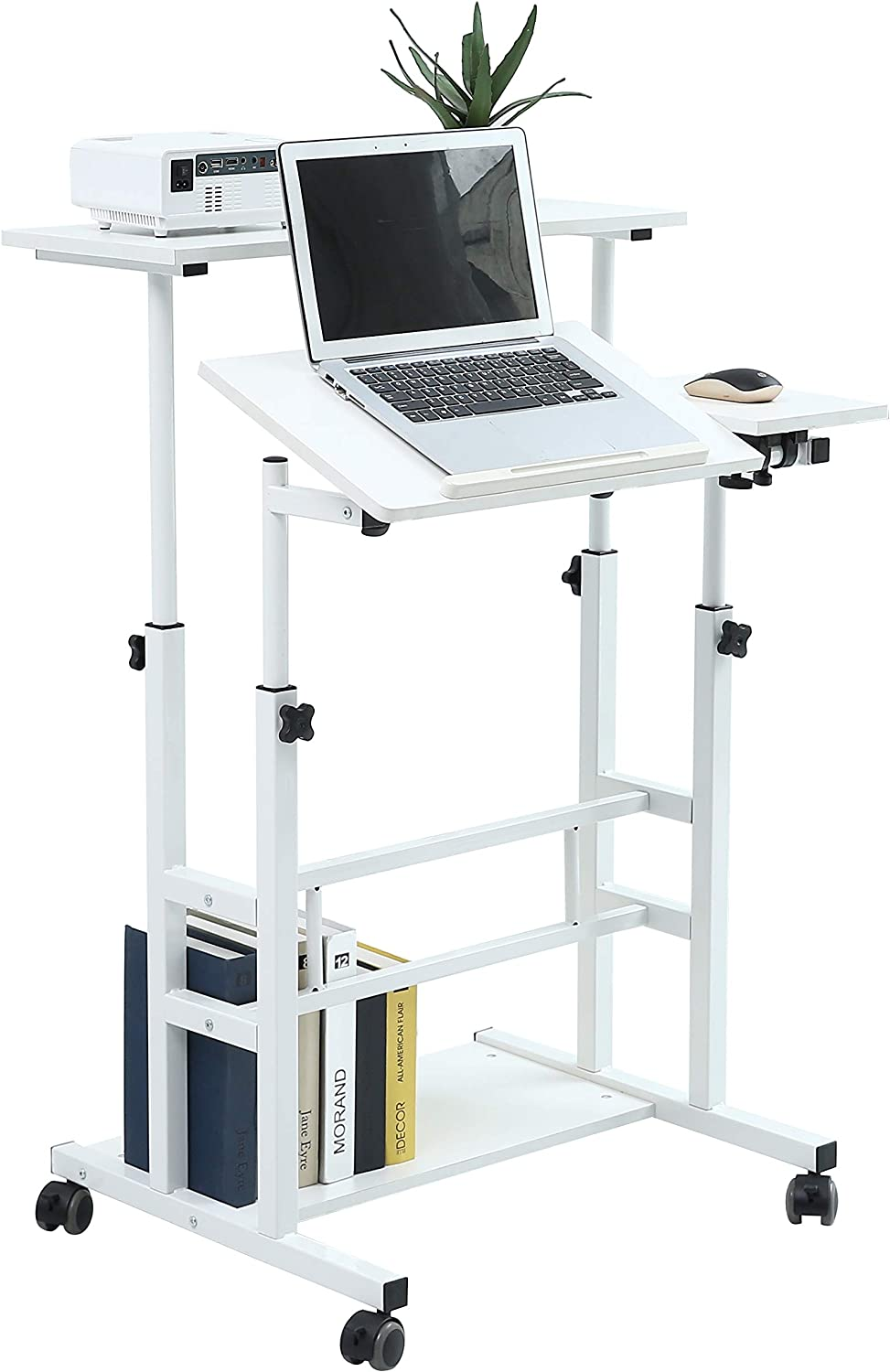 Unicoo Rolling Laptop Cart Height Adjustable Sit Stand Workstation Mobile Standing Desk Rolling Presentation Cart Computer Workstation White U101 Office Products