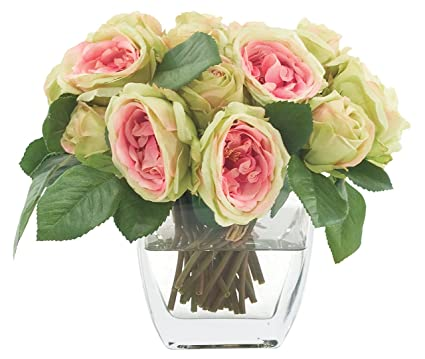 Amazon Fab Flowers Pink Green Roses Square Glass Vase Bedside