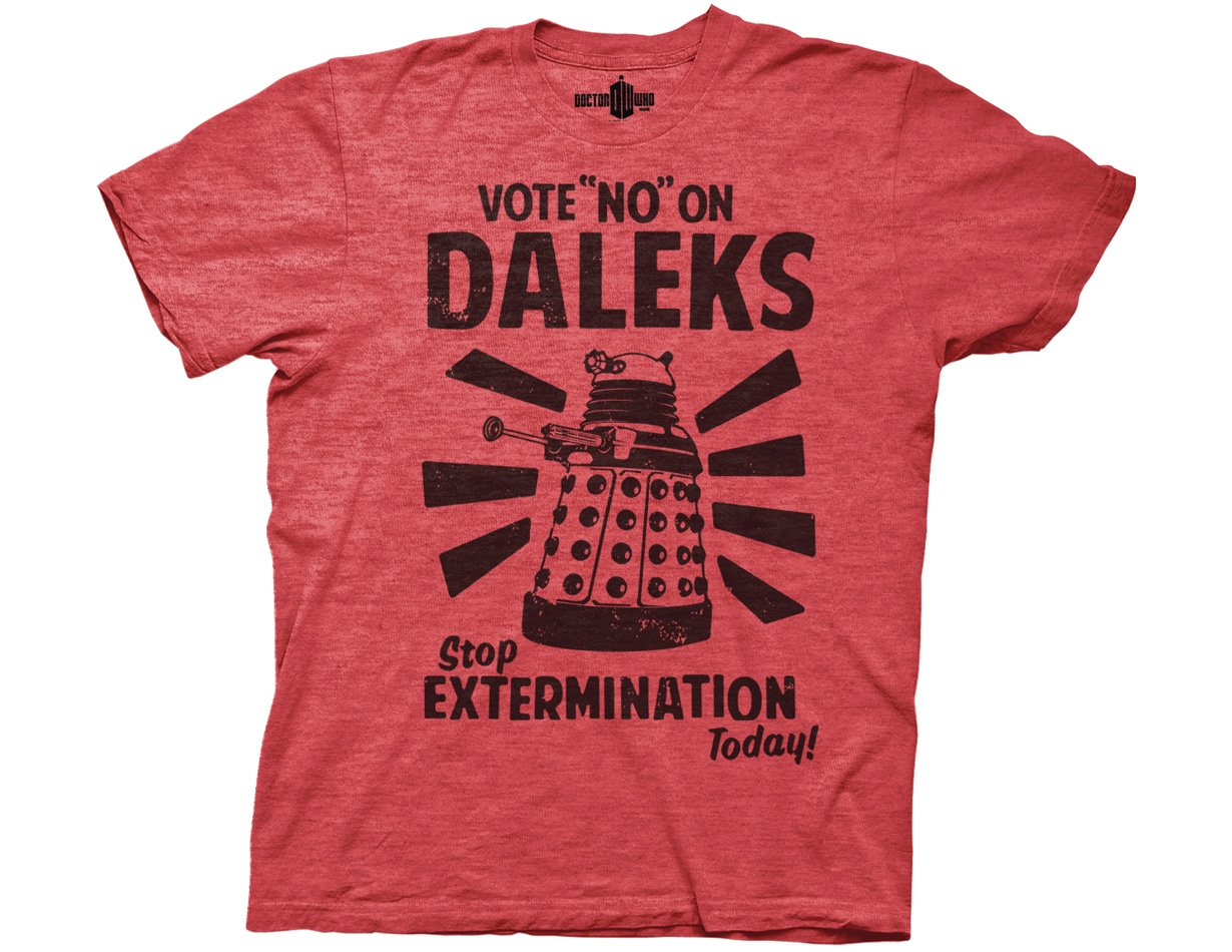 Ripple Junction Doctor Who Vote No On Daleks Adult T-Shirt Small Heather Red DWAS2166-HeatherRedS