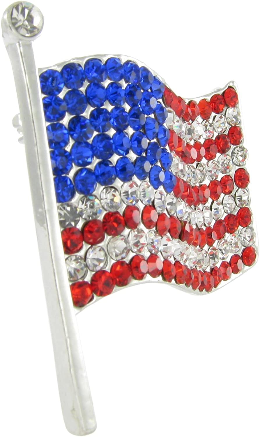 Americas /& Americas USA Flag Lapel Pin .925 Sterling Silver Large