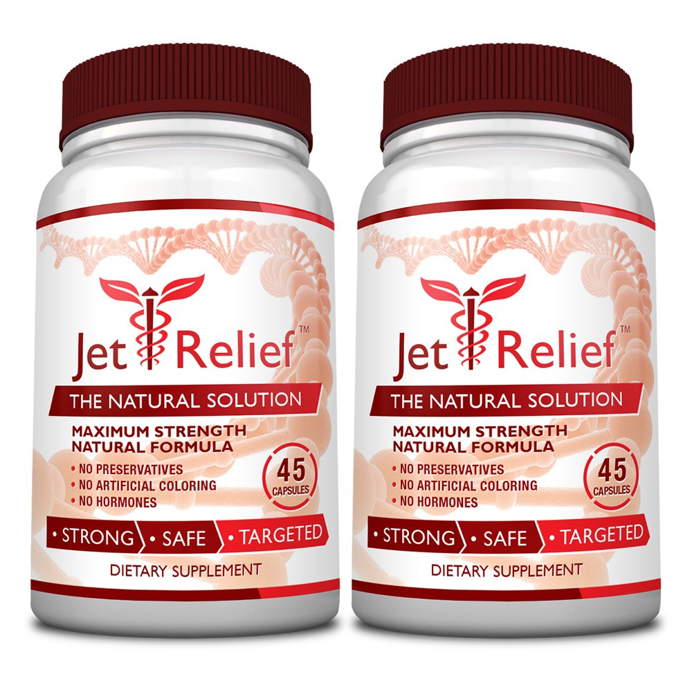JetRelief - The #1 Choice for Jet Lag Relief - 100% Pure & Natural with NO MELATONIN- Helps Regulate Circadian Rhythm - With DMAE, Vitamin B and Magnesium - 100% Money Back - 2 Bottles Supply