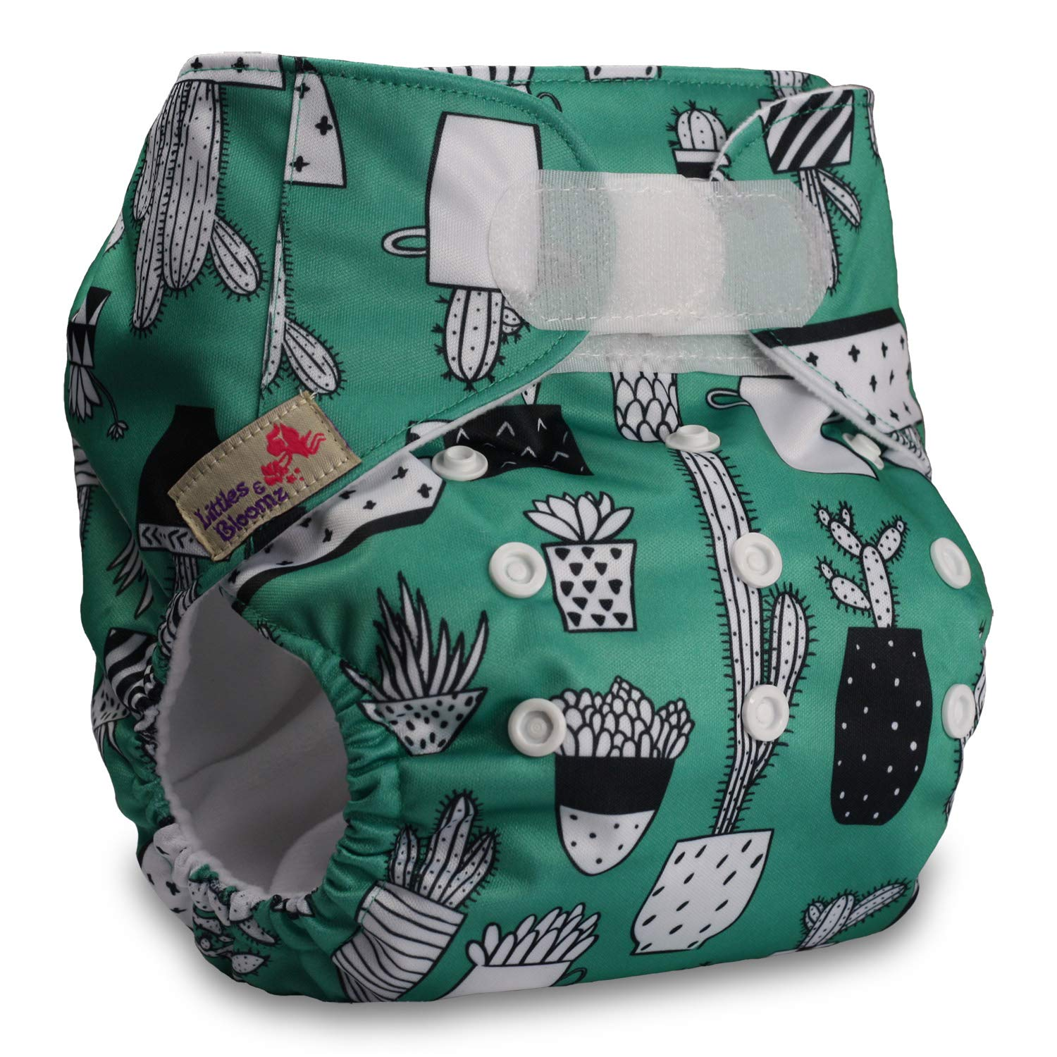 Pattern 45 with 2 Bamboo Inserts Reusable Pocket Cloth Nappy Set of 1 Fastener: Hook-Loop Littles /& Bloomz