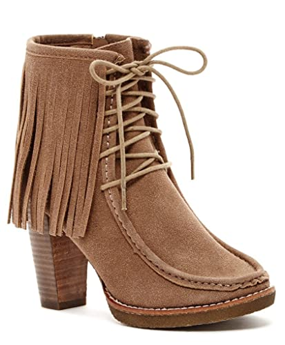 Maddasyn Womens Fashion Fringe Lace-Up Booties