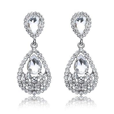 Amazon.com: YUXI Women\'s Rose Gold Crystal Chandelier Earrings ...