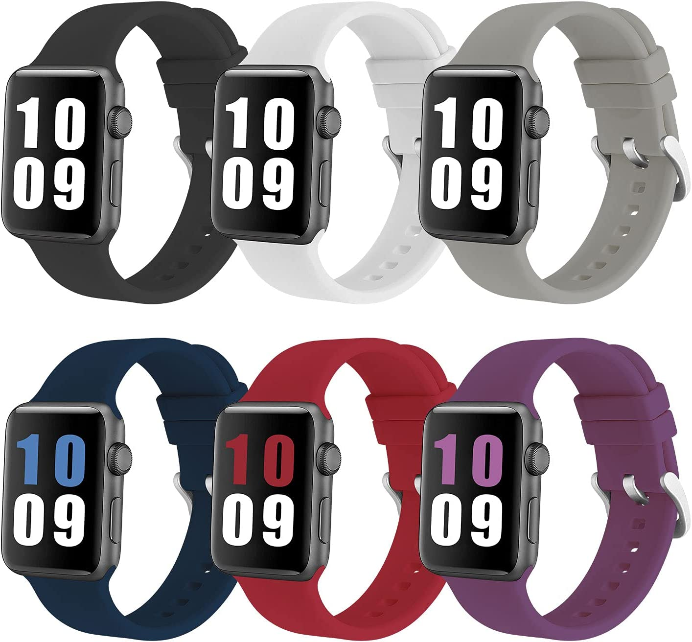 PROSRAT 6-Pack Sport Straps Compatible With Apple Watch Bands 38mm 40mm 42mm 44mm,Soft Silicone Replacement Bands for iWatch Series 6/SE/5/4/3/2/1 for Women Men (Black/Gray/White/Diamond Blue/Rose Red/Dark Purple, 42mm/44mm)