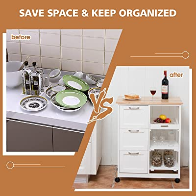 Buy Petsite Kitchen Island Cart With Storage On Wheels Small Rolling Island Table With Drawers Shelves For Home Kitchen White Online In Indonesia B095779q2g