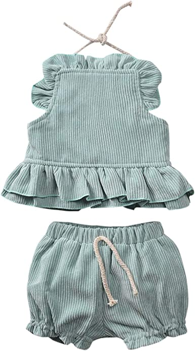 2Pcs Newborn Baby Girl Backless Dress+Shorts Pants Bloomers Tops Outfit Bottoms